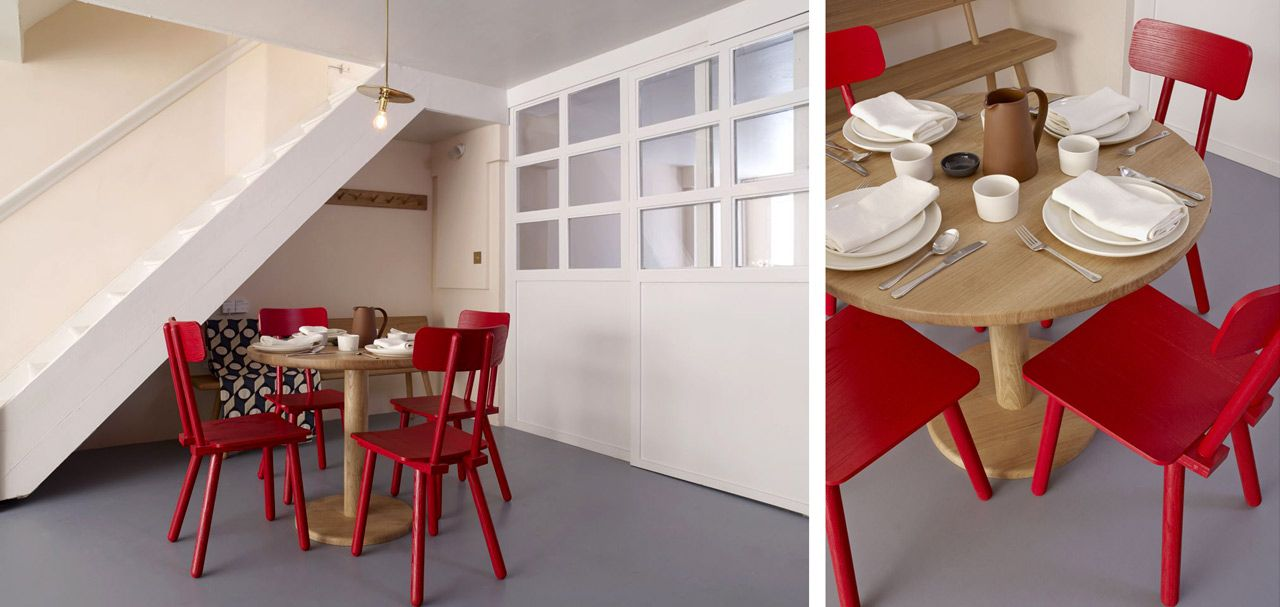 Wooden red chairs invite for breakfast