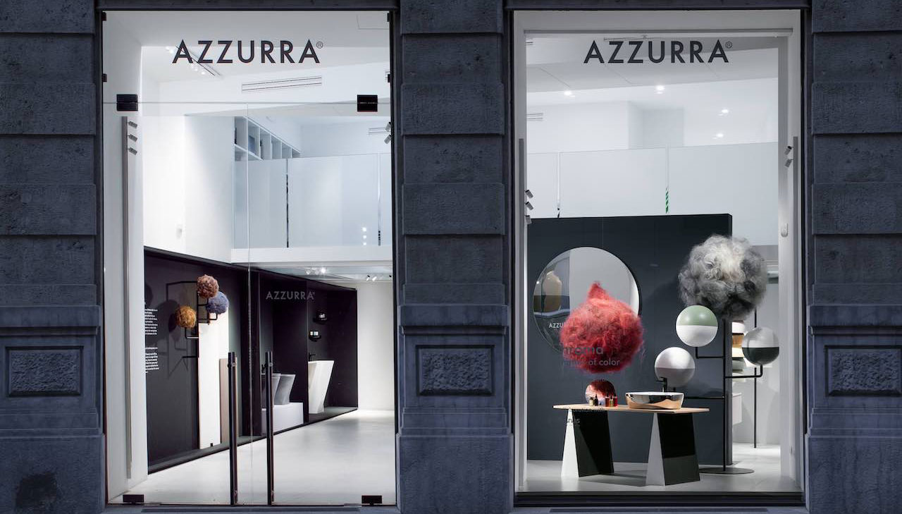 Azzurra Showroom: an installation that celebrates colour and beauty