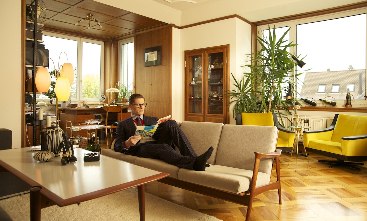 Clark Kent, aka Superman, relaxing in Robert Lenz's home, by Bliss, Zurich