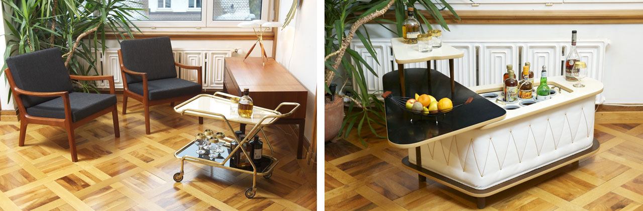 A must-have from the fifties, a drinks trolley and the Niere DeLuxe bar cabinet, Ilse.
