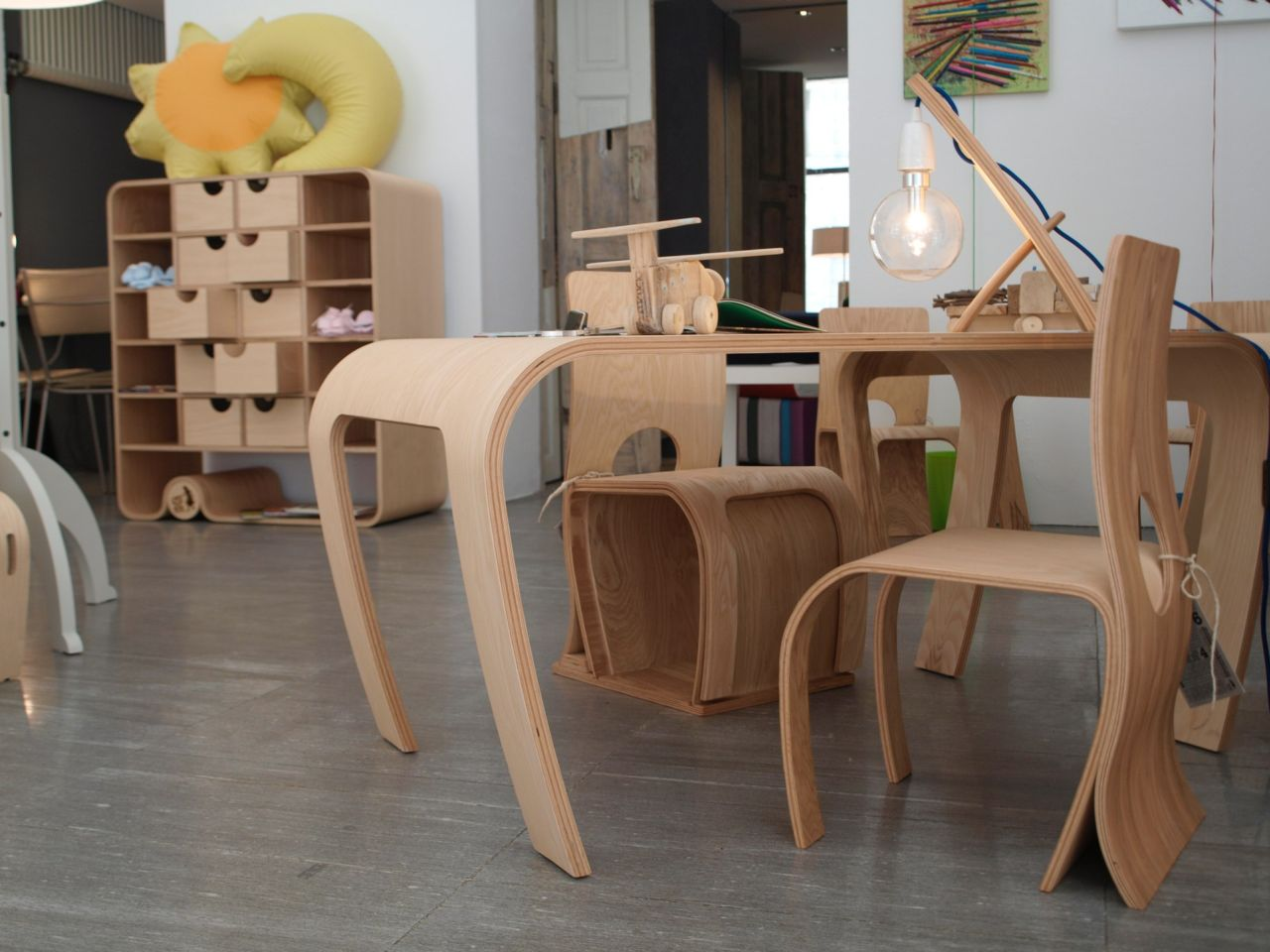 Flowerssori, kids' furniture. Shown during an event planned to showcase handcrafted furniture, looking at design through a kid's perspective.