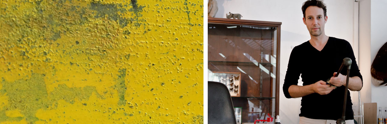 Details of the finishes of the new industrial tables inspired by detoriated paints, Marc Boucherie