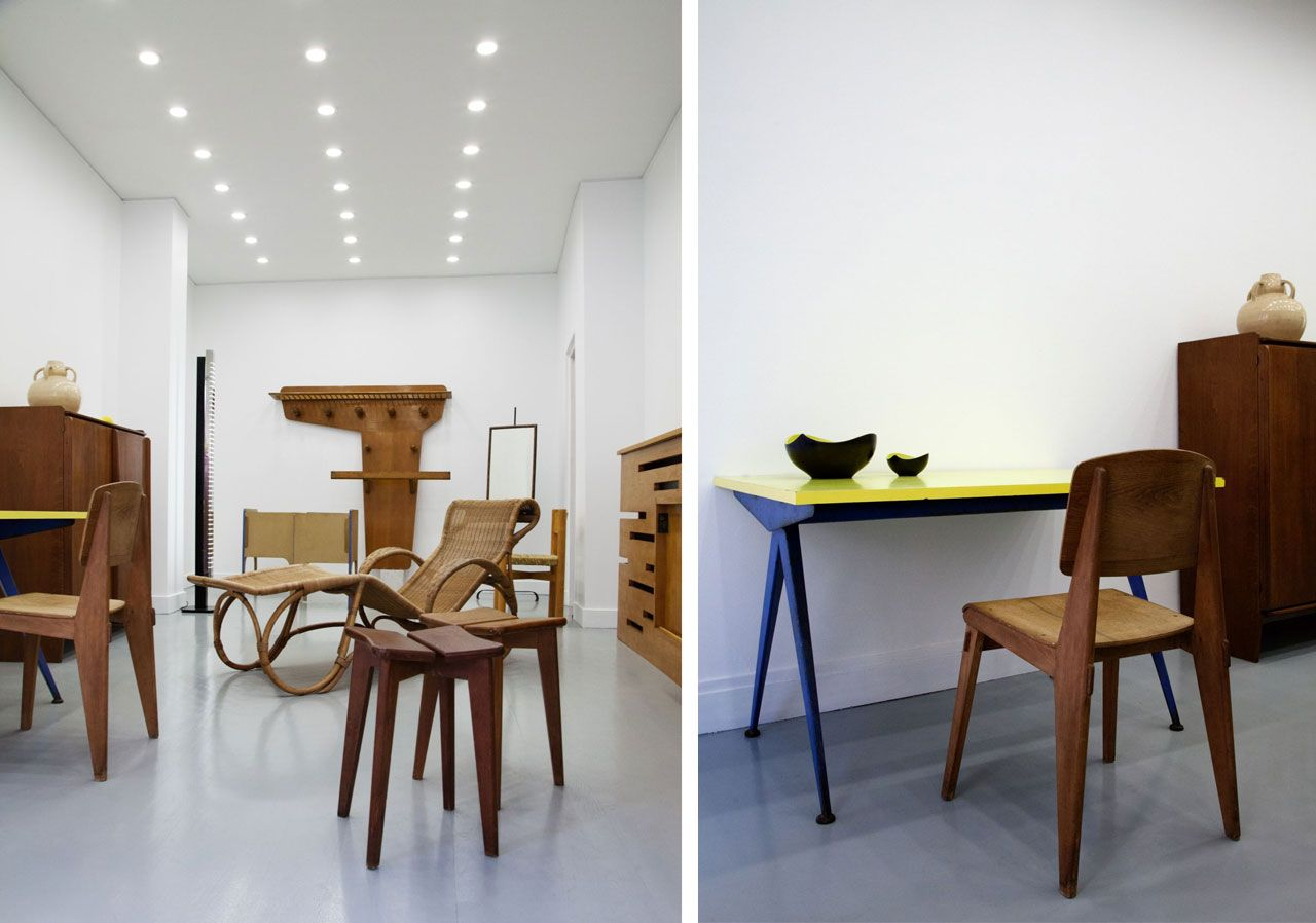 The gallery interior with Marcoule table and Tout Bois chair, both by Jean Prouvé.