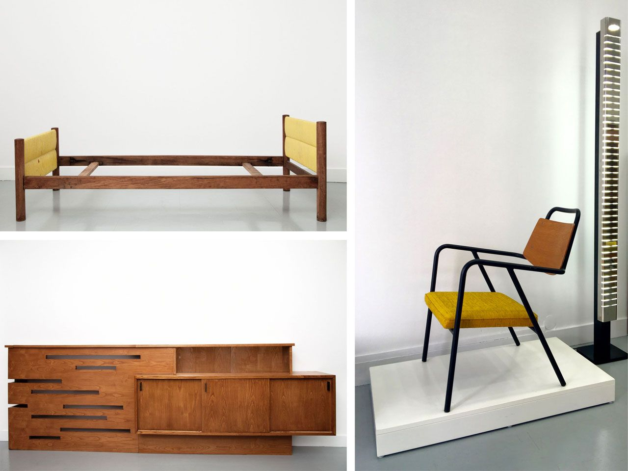 "Bed designed by Charlotte Perriand, sideboard by Gustave Gautier and ""Armchair for Antony"" by Raphael Raffel."