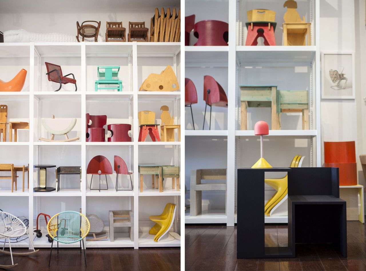 Large shelving with a bright mix of modern and vintage kids' furniture, Kinder Modern, New York