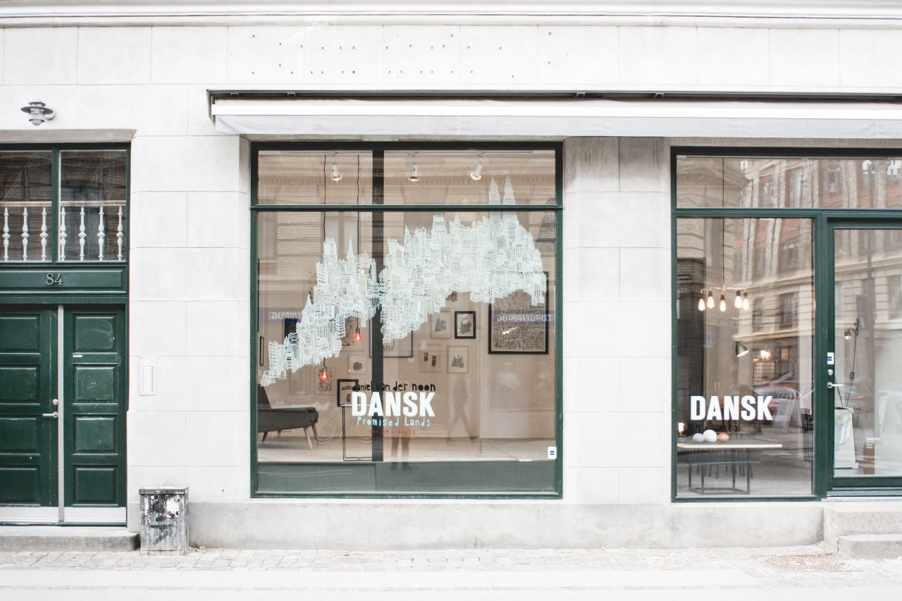 Dansk made for rooms , storefronts on Istedgade in Vesterbro, Copenhagen.