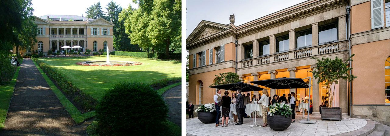 The park and the terrace of Die Villa in Berlin