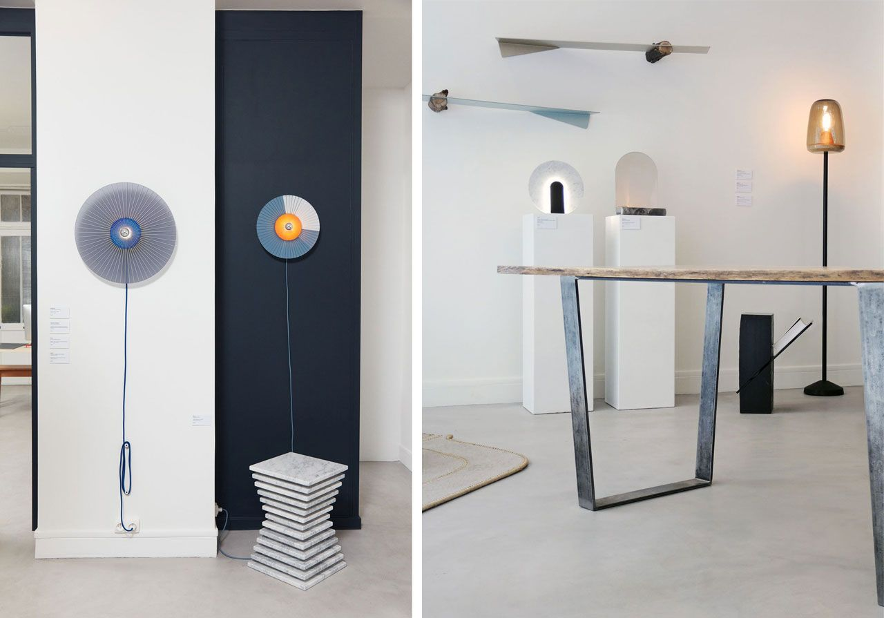 lamps by Marta Bakowski, stool by Lea Ginac, table by Solveig Bongrain