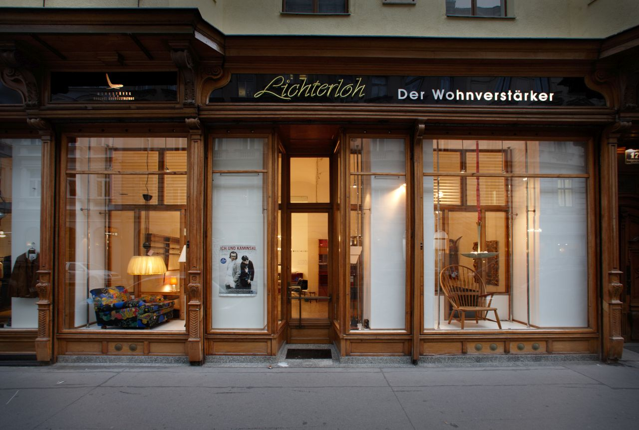 Lichterloh's historic storefront on the Gumpendorferstrasse in Vienna