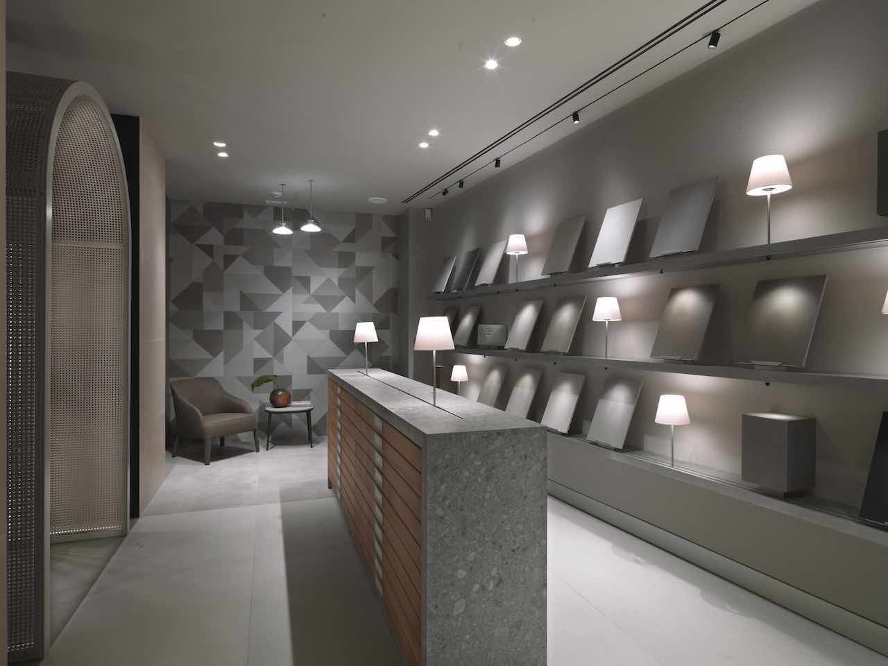 Marazzi Showroom Milano, the remodel designed by Antonio Citterio and Patricia Viel.