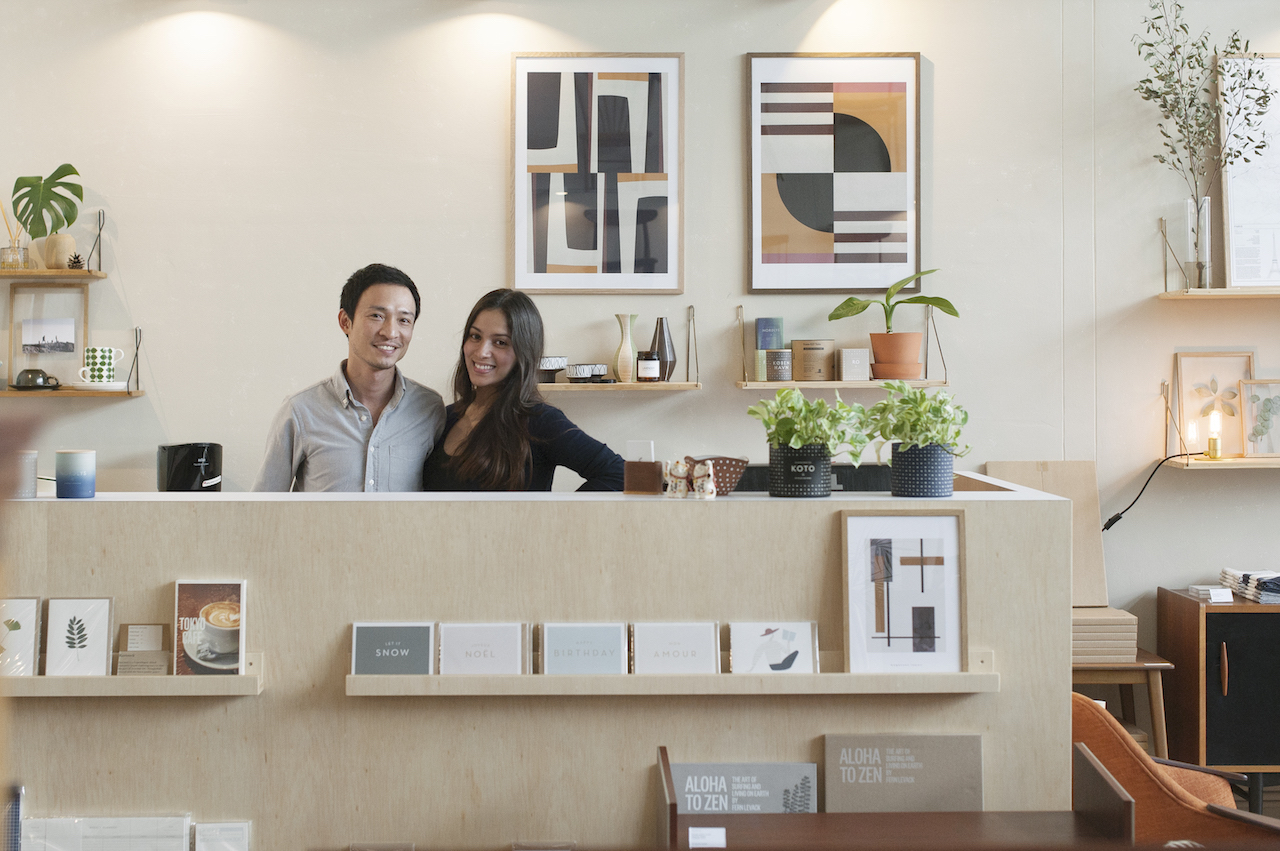 Noden's founding partners, Marko Dylan Yeo and his wife Tawan Conchonnet, at the front desk of their showroom.