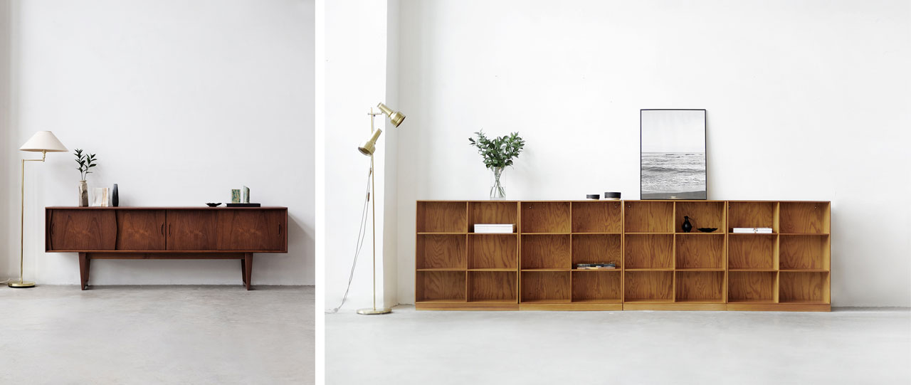 teak sideboard by Kai Kristiansen and shelving by Mogens Koch