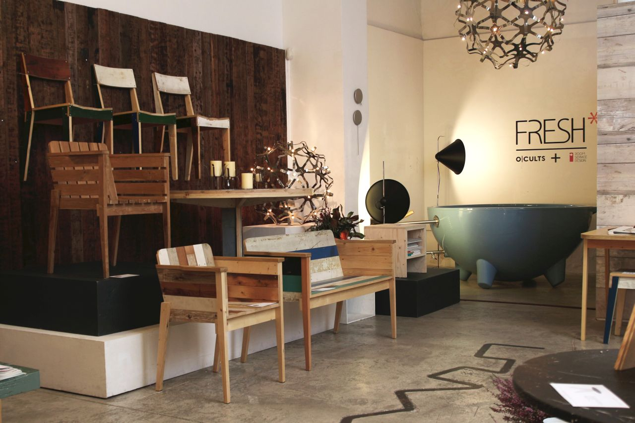 Furniture by Piet Hein Eek at Roomservice, interior design store, Barcelona