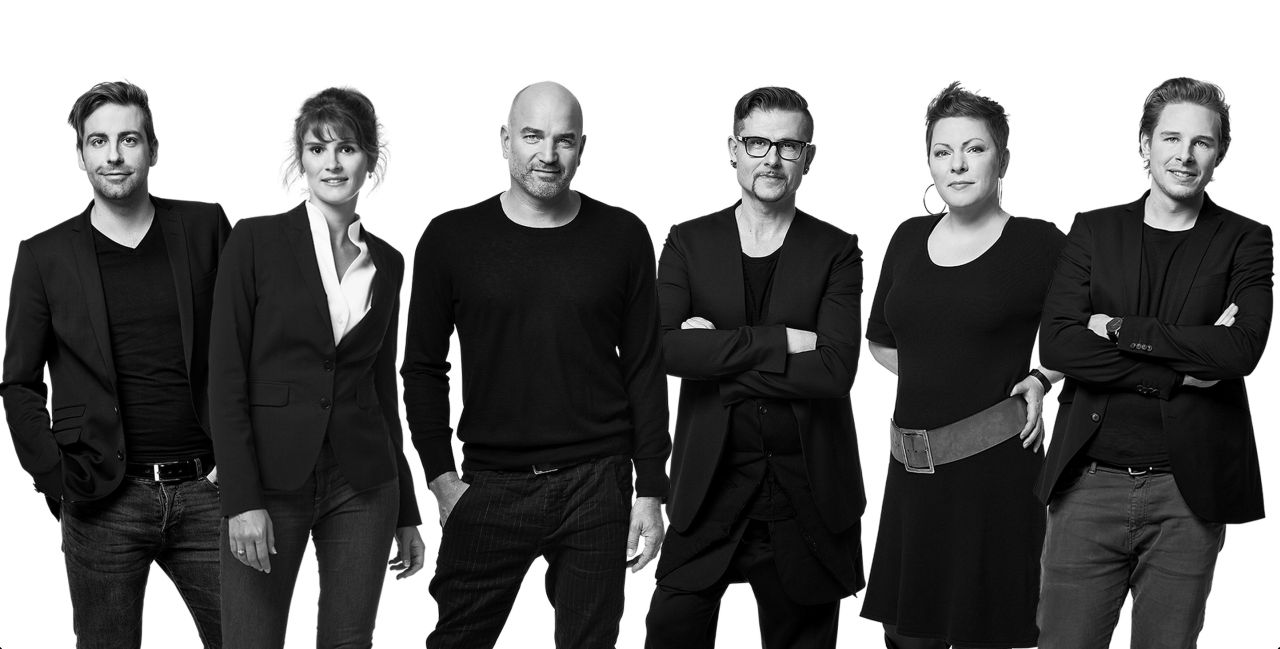 Ralf Böckle's team of architects and designers, from left to right: Moritz Debertshäuser, Lisa K. Reuter, Ralf Böckle, Christof Adam, Petra Brockhaus, Christian Koch.