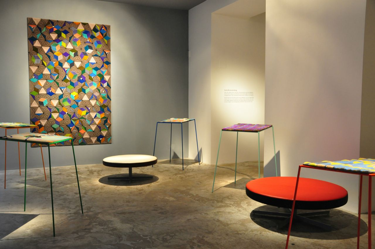 Kunst und Anwendung (Art and Application): an exhibition of carpets and seating by Austrian artist Gilbert Bretterbauer.