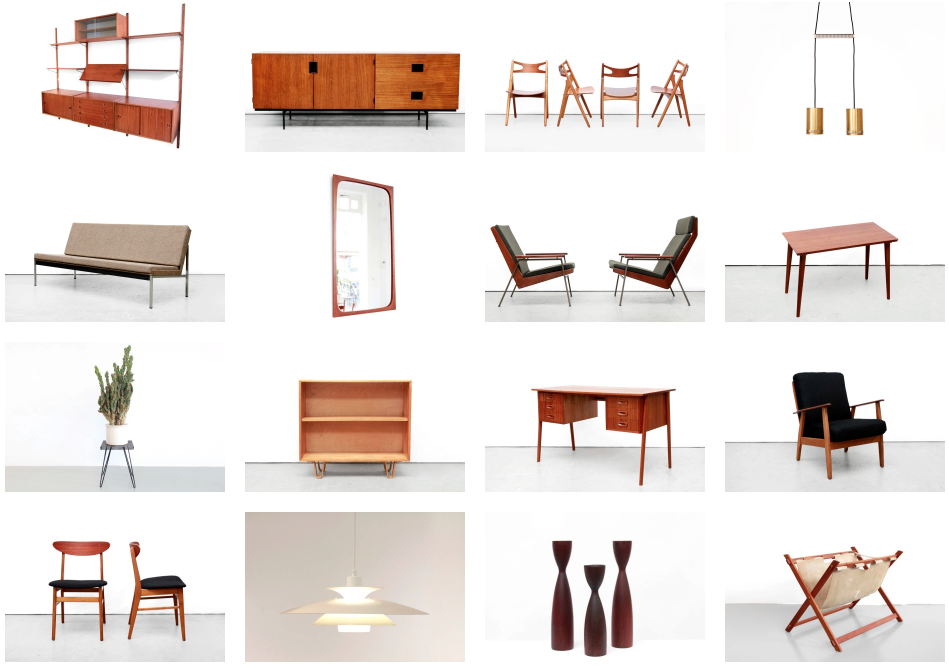A selection of '50s and '60s design sold by van OnS, designed by Poul Cadovius, Cees Braakman Hans Wegner, Coen de Vries and Aksel Kjersgaard.