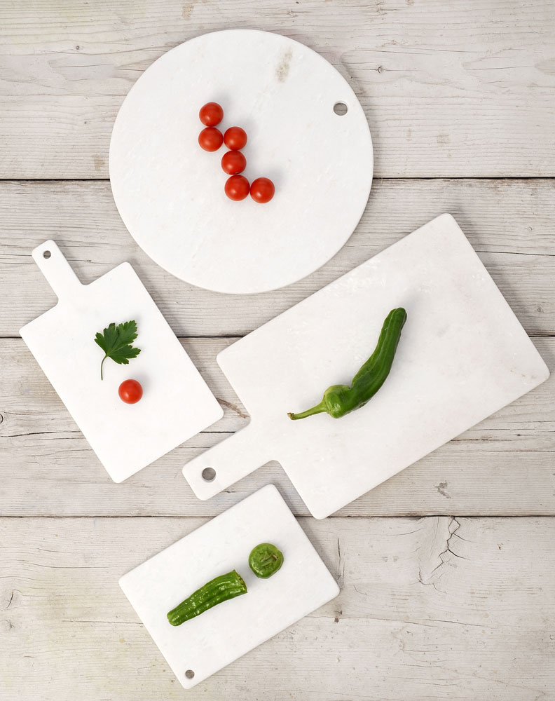 Marmobianco trays by l'abitare