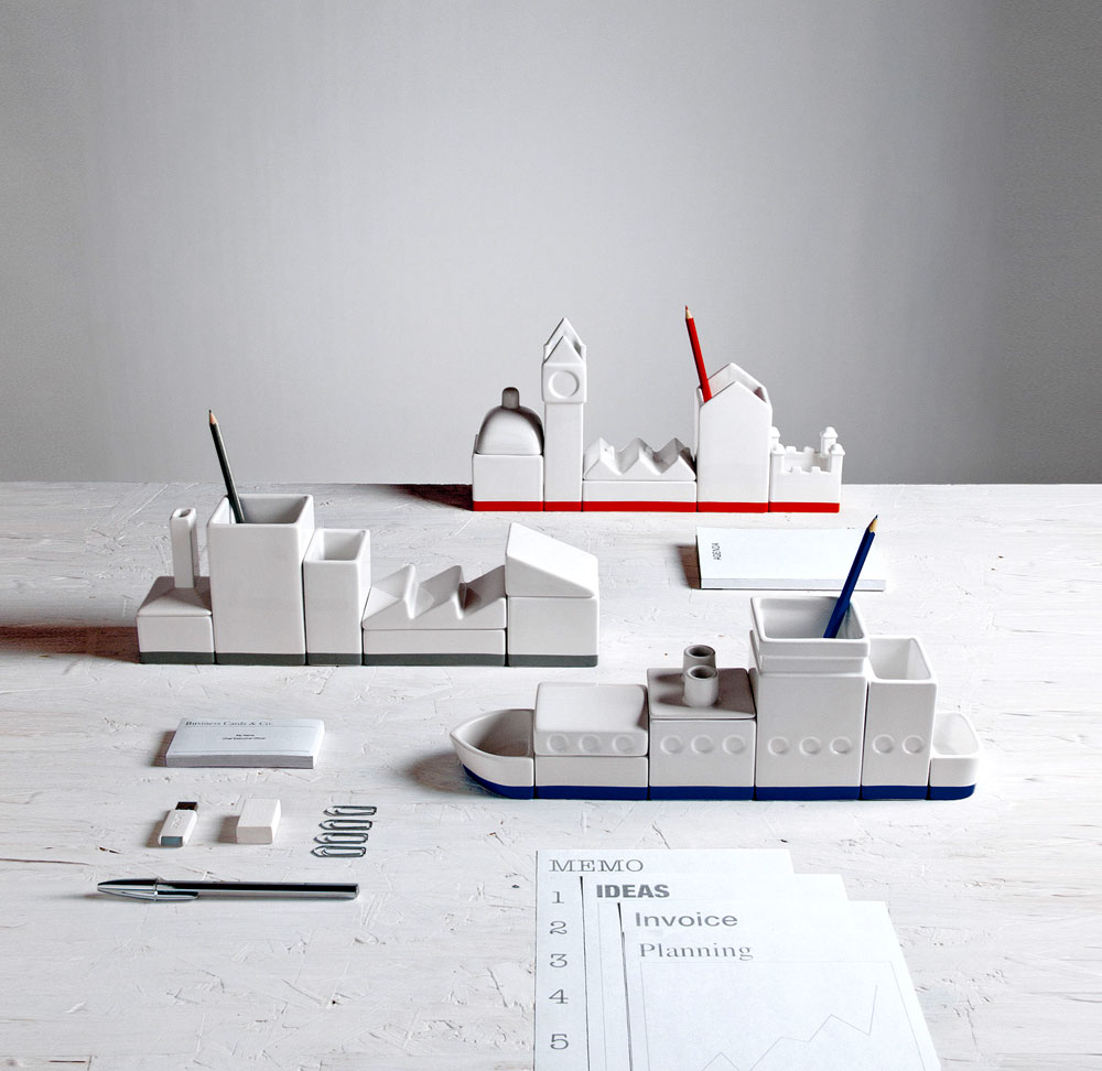 la city desk organizer set by seletti